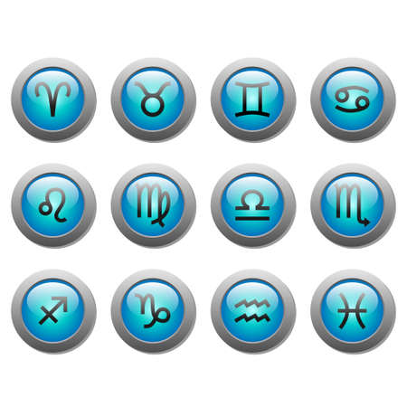 Buttons with signs of zodiac Vector