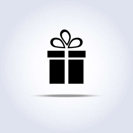 present box: Vector icon of present box with shadow Illustration