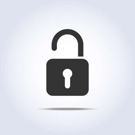 code lock: open lock icon in vector square symbol Illustration
