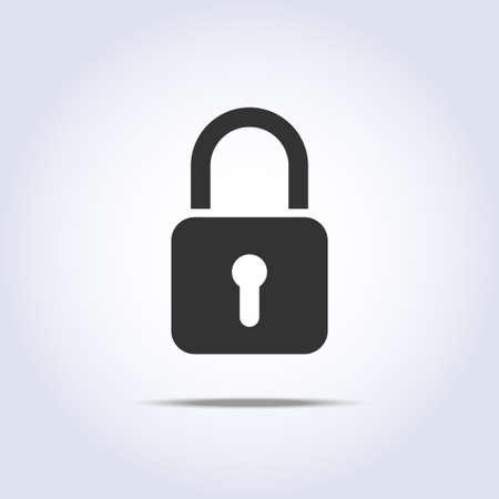 ベクトルの正方形の記号で閉鎖したロック アイコン