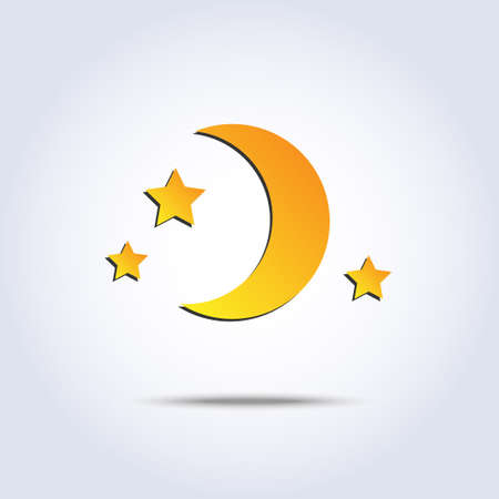 new moon and stars icon in vector