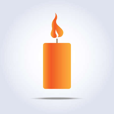 paraffin: orange candle icon with flame Illustration