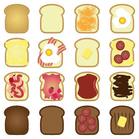 set of sliced white brown bread toast  Illustration