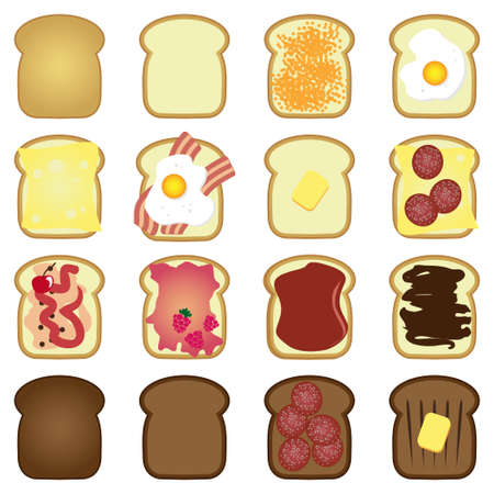 set of sliced white brown bread toast  Illustration