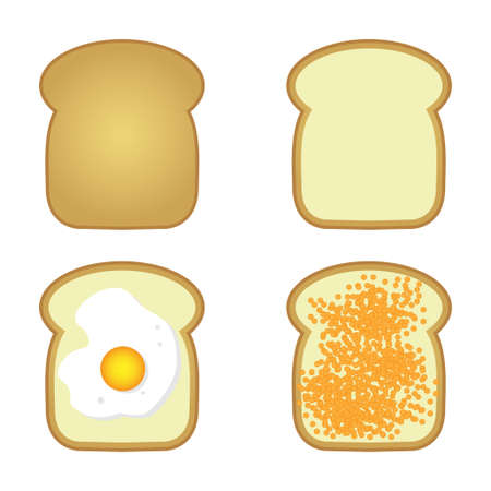 toasted sandwich: set of tosts with caviar and egg Illustration