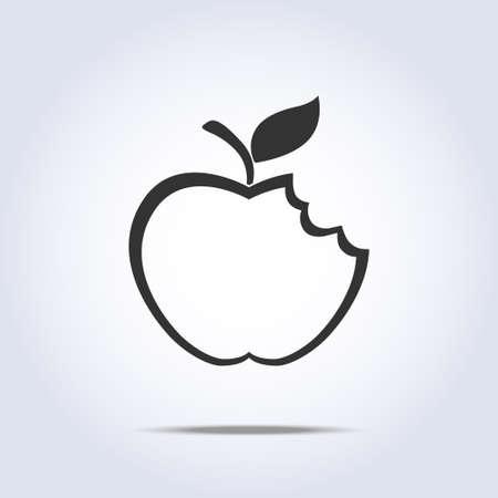 bitten: Icono de la manzana mordida en vecto colores grises