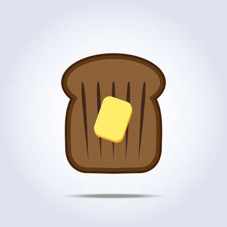 toasted: Black bread toast icon with butter