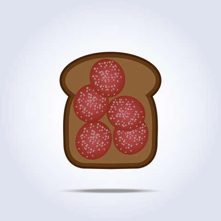 fiambres: Tostadas negro con el icono de salami Vectores
