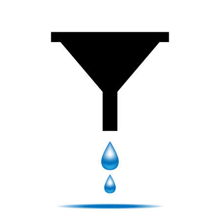 lubricate: Funnel icon with drops of water