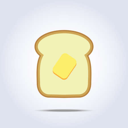 White bread toast icon with butter Vector