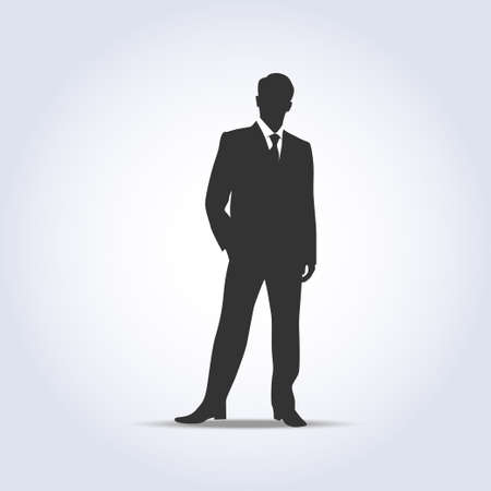 Standing businessman silhouette gray color Illustration