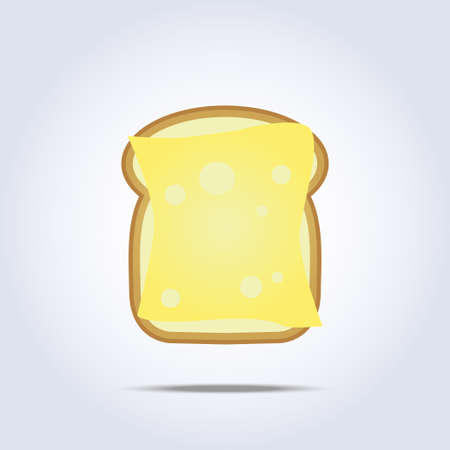 buttered: White bread toast icon with cheese