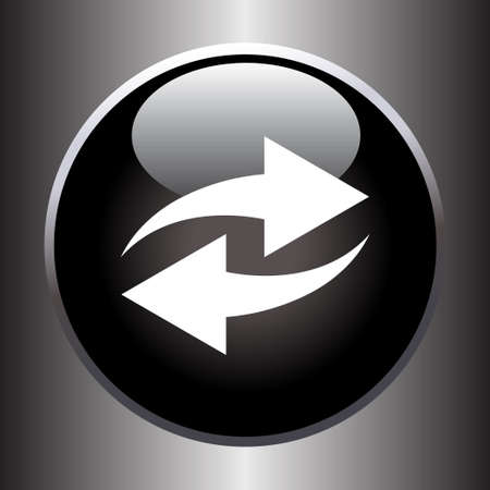orientation marker: Two arrows icon on black glass button Illustration