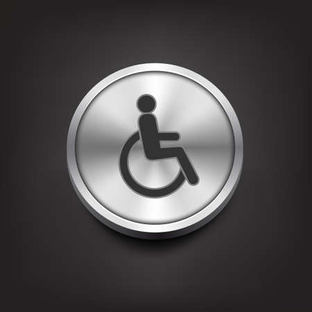 Disabled icon on silver button. Vector illustration Vector
