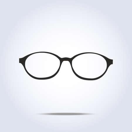灰色の背景に眼鏡のアイコン。ベクトル イラスト