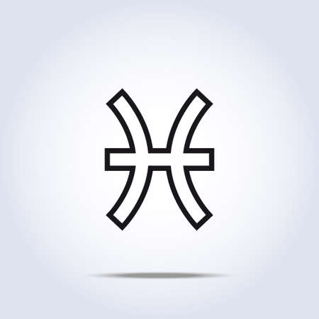 Pisces zodiac sign gray color. Vector Illustration Vector