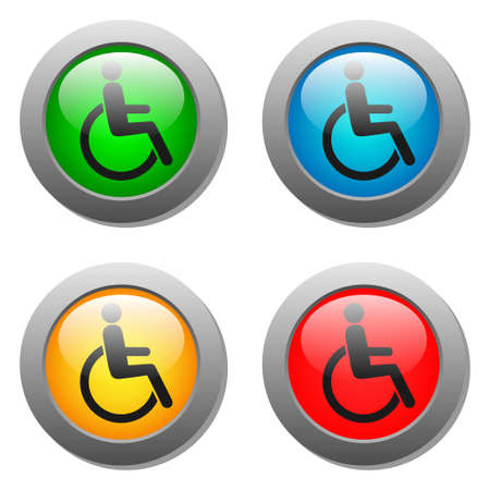 glass buttons: Disabled icon set on glass buttons. Vector illustration