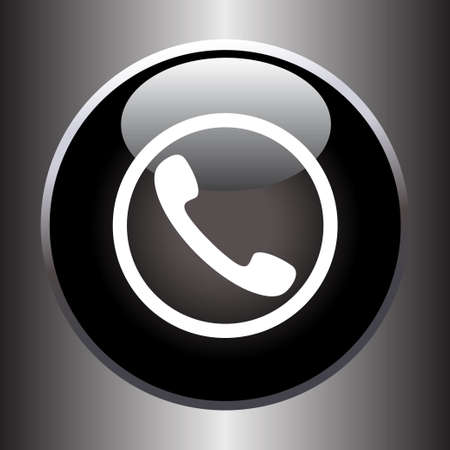 Phone handset icon on black glass button. Vector illustration