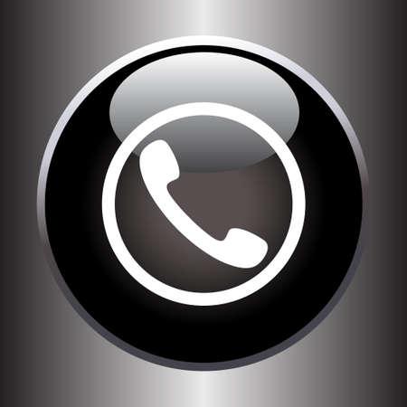 Phone handset icon on black glass button. Vector illustration