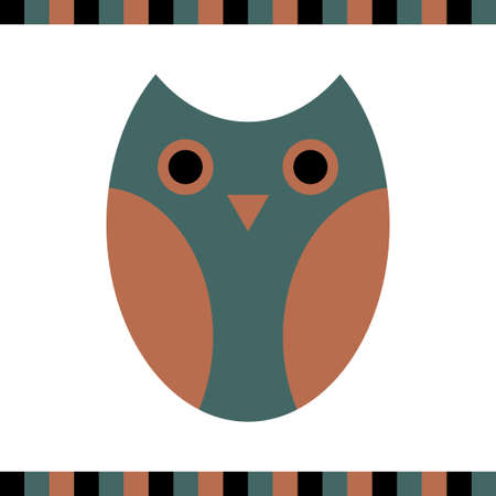 Owl stylized icon nature colors Vector