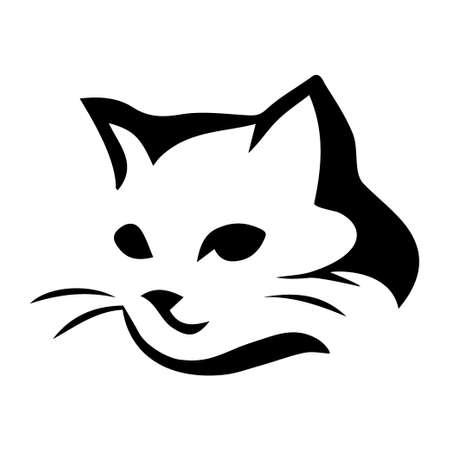 Gestileerde kat pictogram op witte achtergrond Stock Illustratie