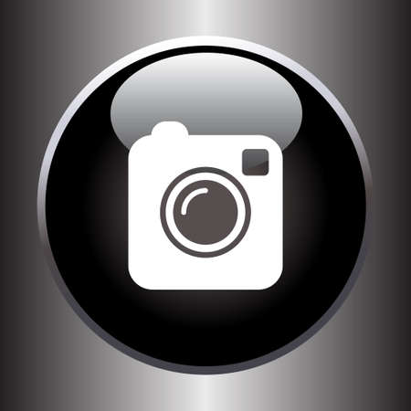 black button: Camera simple icon on black button