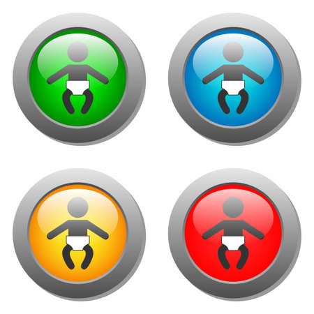 glass buttons: Baby icon set on glass buttons