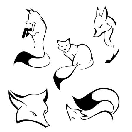 black and white wolf: Set of foxes in curve lines