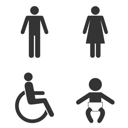 Set of toilet people signs