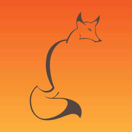 Fox sign in curve lines Illustration