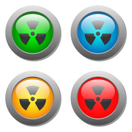 radiactividad: Icono de la radiactividad en el conjunto de botones Vectores