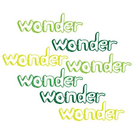 wonder: Art hand drawn text wonder Illustration