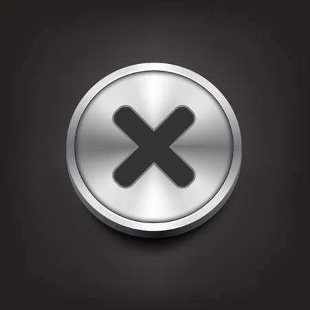 removing: Rejected sign on silver button Illustration