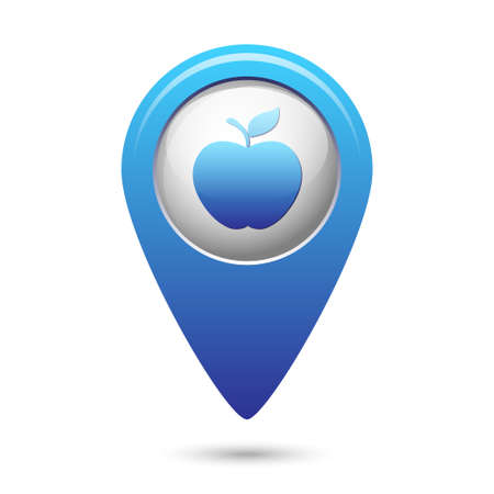 map pointer: Apple icon on blue map pointer