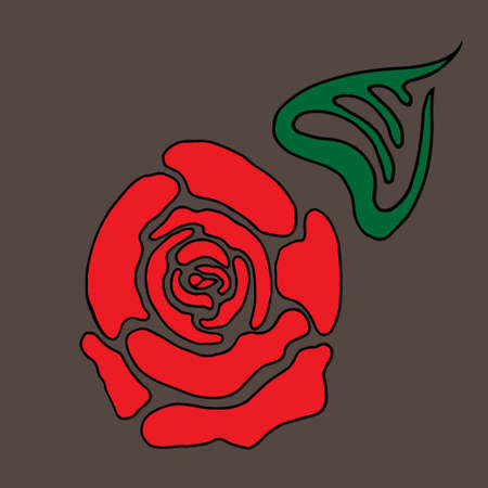 Red stylized rose with leaf Illustration