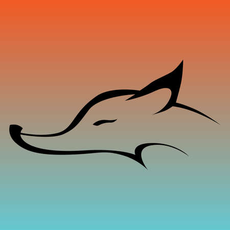 sneaky: Fox sign in curve lines Illustration