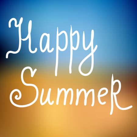 happy summer: Happy summer. Poster on beach background Illustration