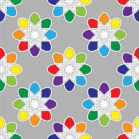 tessellation structure: Flower seamless pattern bright colors. Vector illustration