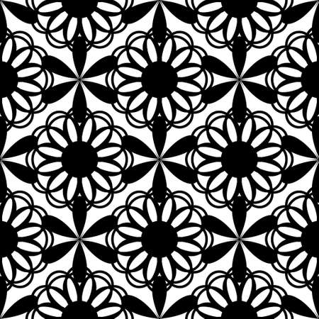 tessellation structure: Floral seamless pattern black color. Vector illustration