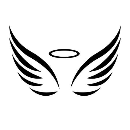 wings icon: Vector sketch of angel wings on white background