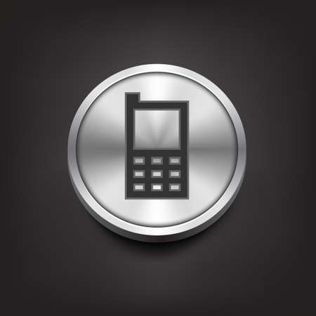 phone button: Phone icon on silver button. Vector illustration Illustration