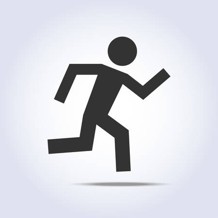 human icon: Simple running human icon silhouette in vector Illustration