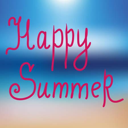 happy summer: Happy summer. Poster on blue mesh background. Vector illustration Illustration