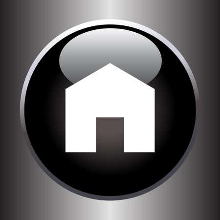 black button: House icon on black button. Vector illustration