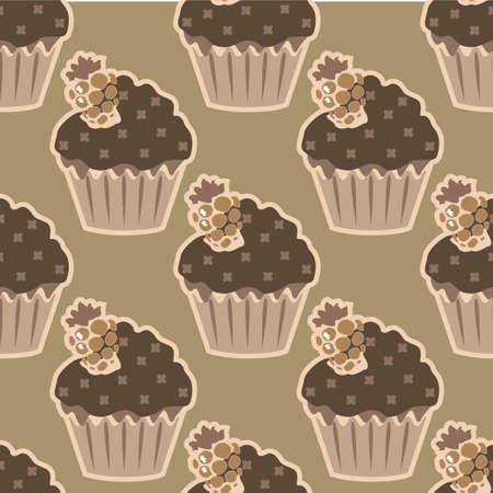 choco: Cream choco cake seamless pattern. Vector illustration Illustration
