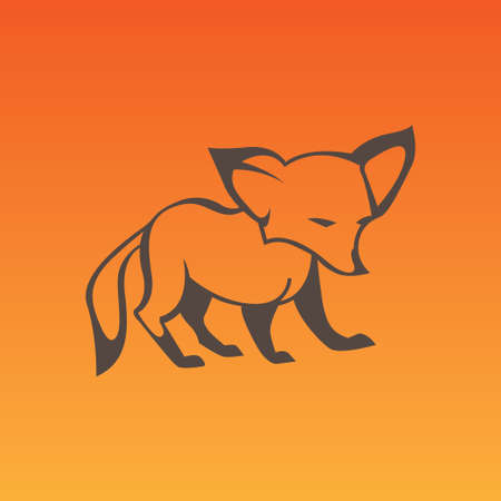 sneaky: Fox sign in curve lines. Vector illustration