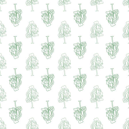 discrete: Abstract doodle trees seamless pattern. Illustration