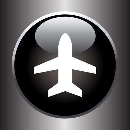 black button: Plane silhouette on black button.