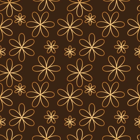 tessellation structure: Flower seamless pattern golden color. Vector illustration