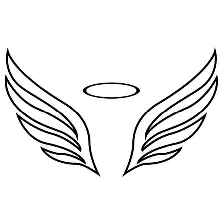 sketch of angel wings on white background